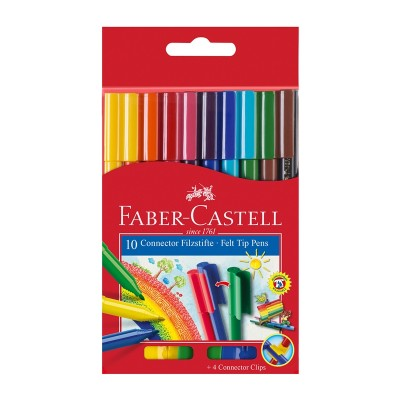 Faber-Castell Флумастери Connector, 10 цвята