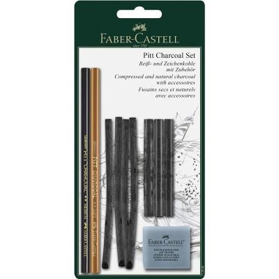 Faber-Castell Въглени Pitt, комплект, с включена хлебна гума, в блистер