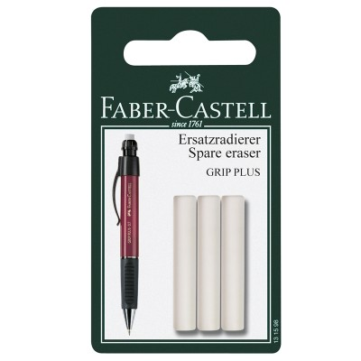 Faber-Castell Гума за автоматичен молив Grip Plus, резервна, 3 броя в блистер