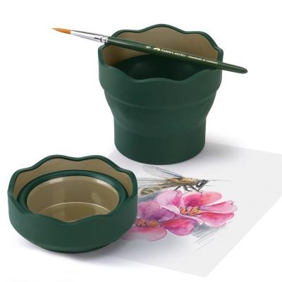 Faber-Castell Чаша за рисуване Clic&Go, сгъваема, тъмнозелена