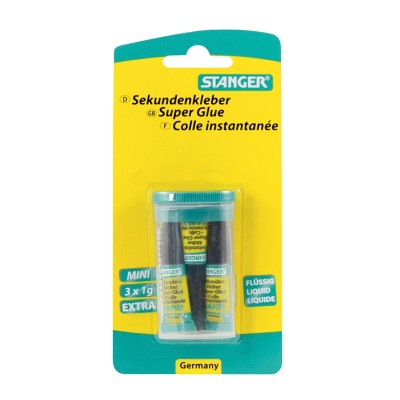Stanger Секундно лепило, 1 g, 3 броя в пластмасова кутийка