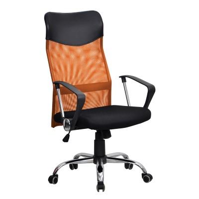 Директорски стол Monti HB, дамаска, екокожа и меш, черна седалка, оранжева облегалка