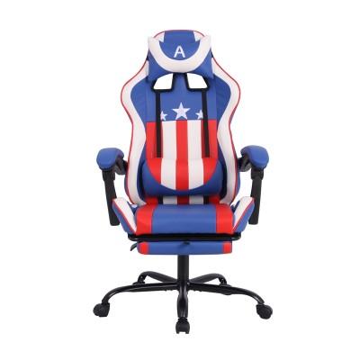 RFG Ергономичен стол Max Game, екокожа, син и бял