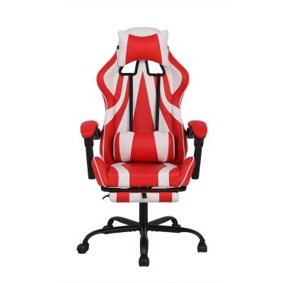 RFG Ергономичен стол Max Game, екокожа, червен и бял
