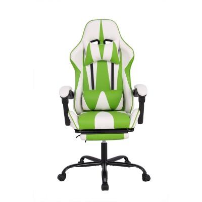 RFG Ергономичен стол Max Game, екокожа, бял и зелен