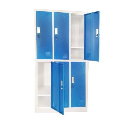 RFG Гардероб, метален, троен, с шест клетки, 90 x 45 x 185 cm, сив корпус, врати със син цвят