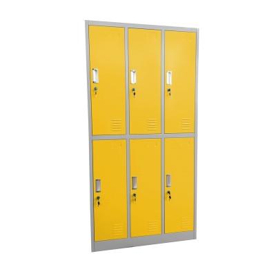 RFG Гардероб, метален, троен, с шест клетки, 90 x 45 x 185 cm сив корпус, врати с жълт цвят