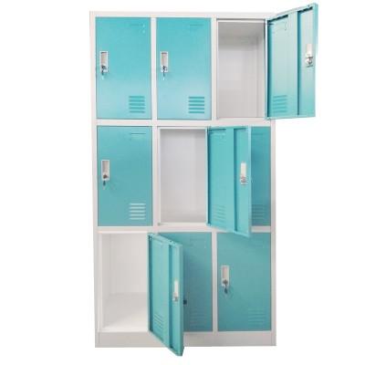 RFG Гардероб, метален, троен, с девет клетки, 90 x 45 x 185 cm, сив корпус, врати с тюркоазен цвят