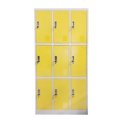 RFG Гардероб, метален, троен, с девет клетки, 90 x 45 x 185 cm, сив корпус, врати с жълт цвят