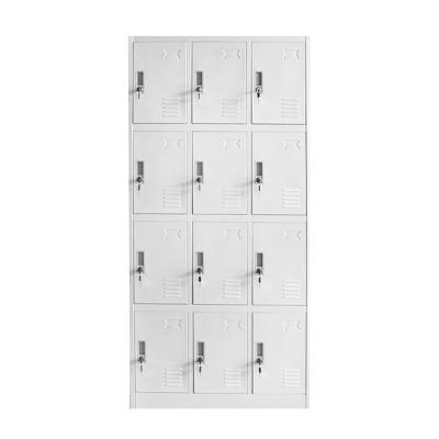 RFG Гардероб, метален, с дванадесет отделения, 185 x 90 x 40 cm, сив