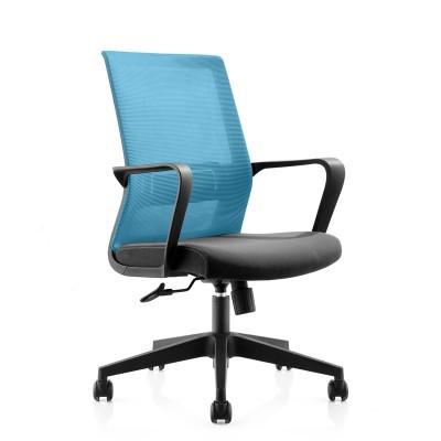 RFG Работен стол Smart W, дамаска и меш, черна седалка, светлосиня облегалка