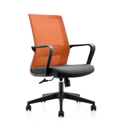 RFG Работен стол Smart W, дамаска и меш, черна седалка, оранжева облегалка