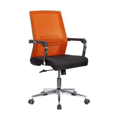 RFG Работен стол Roma W, дамаска и меш, черна седалка, червена облегалка