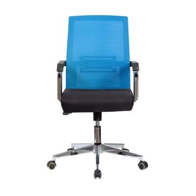 RFG Работен стол Roma W, дамаска и меш, черна седалка, светлосиня облегалка