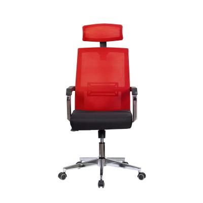 RFG Директорски стол Roma HB, дамаска и меш, черна седалка, червена облегалка