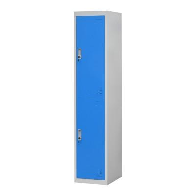 RFG Гардероб, метален, единичен, с две отделения, 38 x 45 x 185 cm, сив корпус, врати със син цвят
