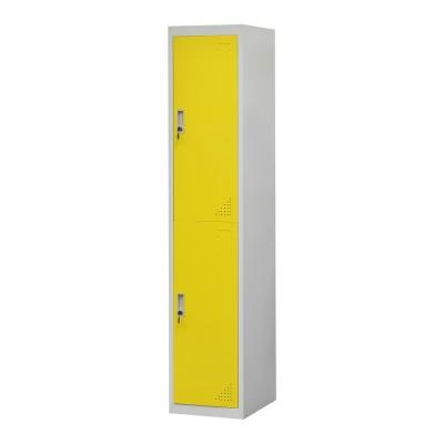 RFG Гардероб, метален, единичен, с две отделения, 38 x 45 x 185 cm, сив корпус, врати с жълт цвят