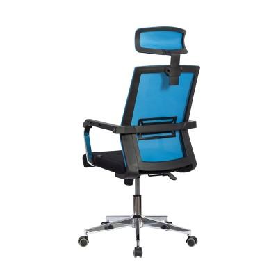 RFG Директорски стол Roma HB, дамаска и меш, черна седалка, светлосиня облегалка