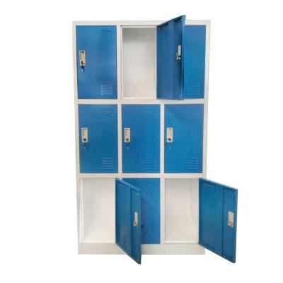 RFG Гардероб, метален, троен, с девет клетки, 90 x 45 x 185 cm, сив корпус, врати със син цвят