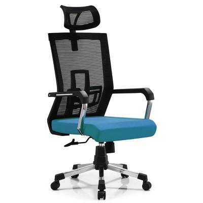 RFG Директорски стол Lucca HB, дамаска и меш, синя седалка, черна облегалка