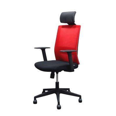 RFG Директорски стол Berry HB, дамаска и меш, черна седалка, червена облегалка