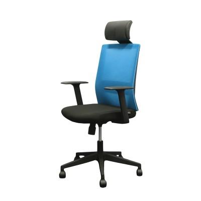 RFG Директорски стол Berry HB, дамаска и меш, черна седалка, светлосиня облегалка