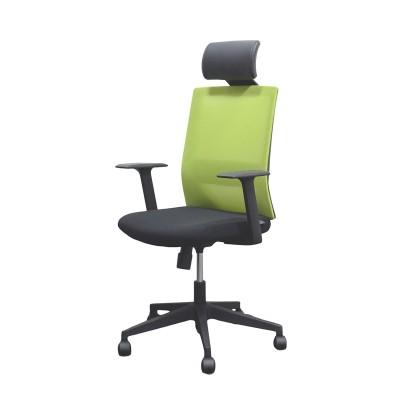RFG Директорски стол Berry HB, дамаска и меш, черна седалка, зелена облегалка