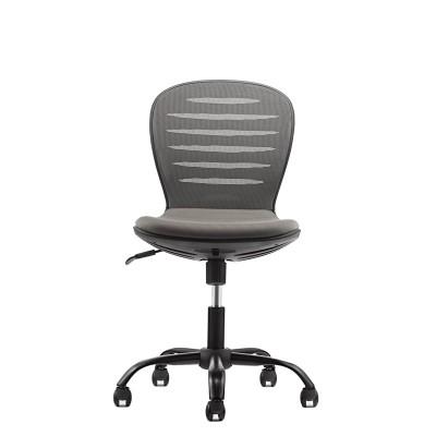 RFG Детски стол Flexy Black, дамаска и меш, сива седалка, сива облегалка