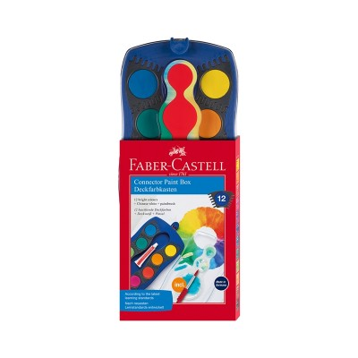 Faber-Castell Aкварелни бои Connector, 12 цвята, с четка