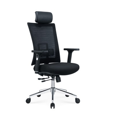 RFG Директорски стол Luxe HB Chrome, черна седалка, черна облегалка