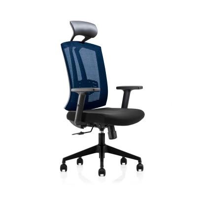 RFG Директорски стол Brixen HB, дамаска и меш, черна седалка, синя облегалка