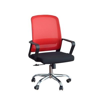 RFG Работен стол Parma Black W, дамаска и меш, черна седалка, червена облегалка