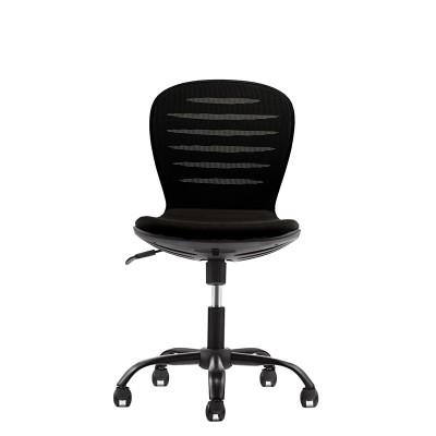 RFG Детски стол Flexy Black, дамаска и меш, черна седалка, черна облегалка