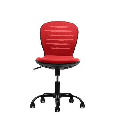 RFG Детски стол Flexy Black, дамаска и меш, червена седалка, червена облегалка