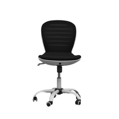 RFG Детски стол Flexy White, дамаска и меш, черна седалка, черна облегалка