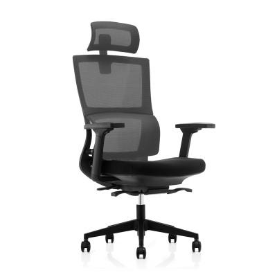 RFG Ергономичен стол Grove, дамаска и меш, черна седалка, сива облегалка
