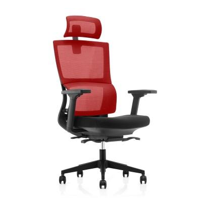 RFG Ергономичен стол Grove, дамаска и меш, черна седалка, червена облегалка
