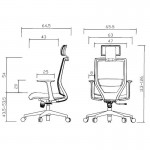 RFG Директорски стол Fedo HB, дамаска и меш, тъмносиня седалка, тъмносиня облегалка