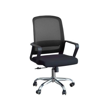 RFG Работен стол Parma Black W, дамаска и меш, черна седалка, черна облегалка