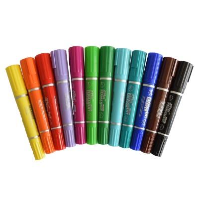Beifa Mаркери A+, перманентен, двувръх, 12 цвята в блистер