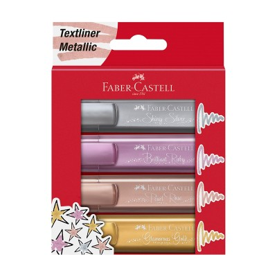 Faber-Castell Текст маркер 1546, металик, 4 цвята