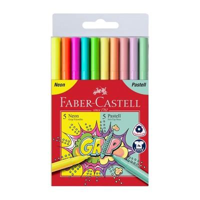 Faber-Castell Флумастери Grip, 5 цвята неон и 5 цвята пастел