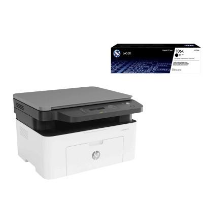HP Лазерен принтер 3 в 1 MFP 135a, A4, с ПОДАРЪК HP Тонер 106A W1106A LJ 107/135/178/179, 1000 страници, Black