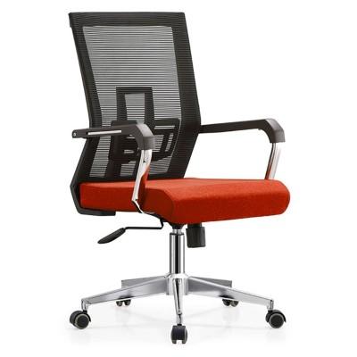 RFG Работен стол Luccas W, дамаска и меш, червена седалка, черна облегалка