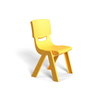 RFG Детски стол Chico, пластмасов, с облегалка, жълт, 41 х 35 х 62 cm