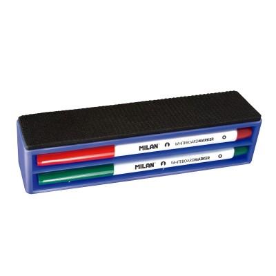 Milan Комплект за бяла дъска, включващ 4 цвята маркери и гъба, магнитна