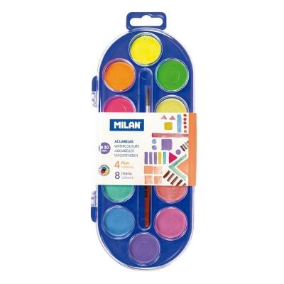 Milan Акварелни бои, 30 mm, 12 цвята, с включена четка