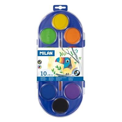 Milan Акварелни бои, 45 mm, 10 цвята, с включена четка
