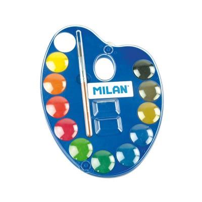 Milan Акварелни бои, в палитра, 25 mm, 12 цвята, с включена четка
