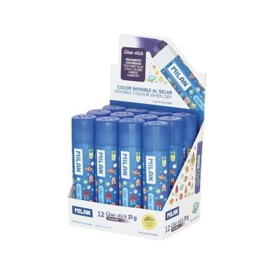 Milan Сухо лепило, 21 g, синьо, в дисплей, 12 броя, опаковка 24